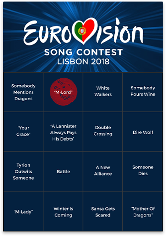 Bingo Card Generator - Eurovision Bingo