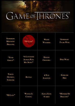 Bingo Card Generator - Game of Thrones Bingo