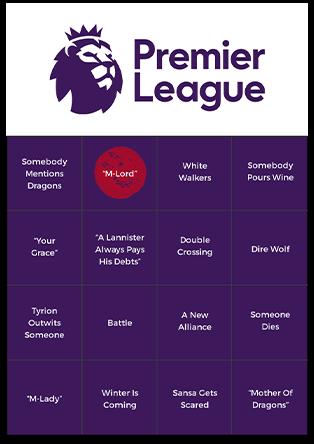 Bingo Card Generator - Premier League Bingo